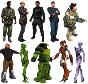 A variety of characters from the early 2000's.