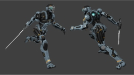 "An Assassin bot for 5th Cell's ""Hybrid"". Design by Ari Bilow, animation by Nathan Hernandez."