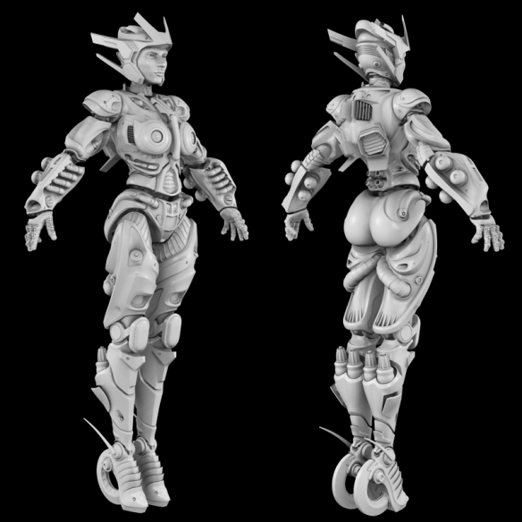 """This is a 3D print I'm working on. It'll eventually be a 9"""" tall articulated figure."""