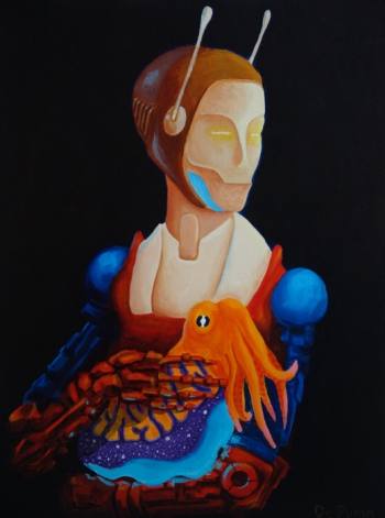 """Robot with Cuttlefish; oil on canvas, 16"""" x 20"""""""