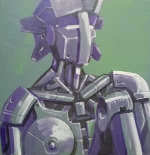 "robot study; acrylic on panel, 16"" x 16"""