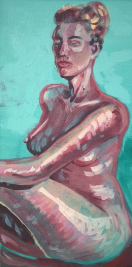 nude study; acrylic on canvas