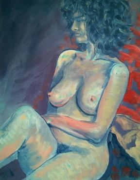 nude study; acrylic on canvas