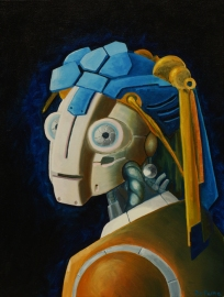 """Robot Girl with Pearl Earring, oil on canvas; 16"""" x 20"""""""