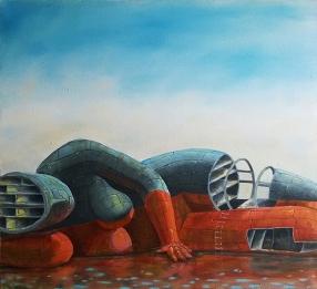 """Shipbreak I; oil on canvas, 35.5"""" x 32"""""""