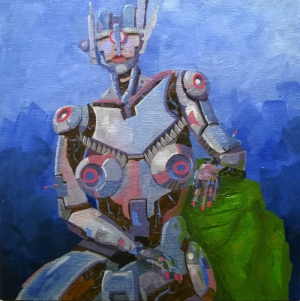 "*SOLD* robot study; acrylic on panel, 12"" x 12"""