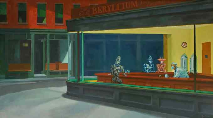 """*SOLD* Nighthawks (with robots), oil on canvas, 54"""" x 30"""""""